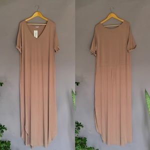 Tan mocha lightweight knit maxi t-shirt dress XXL